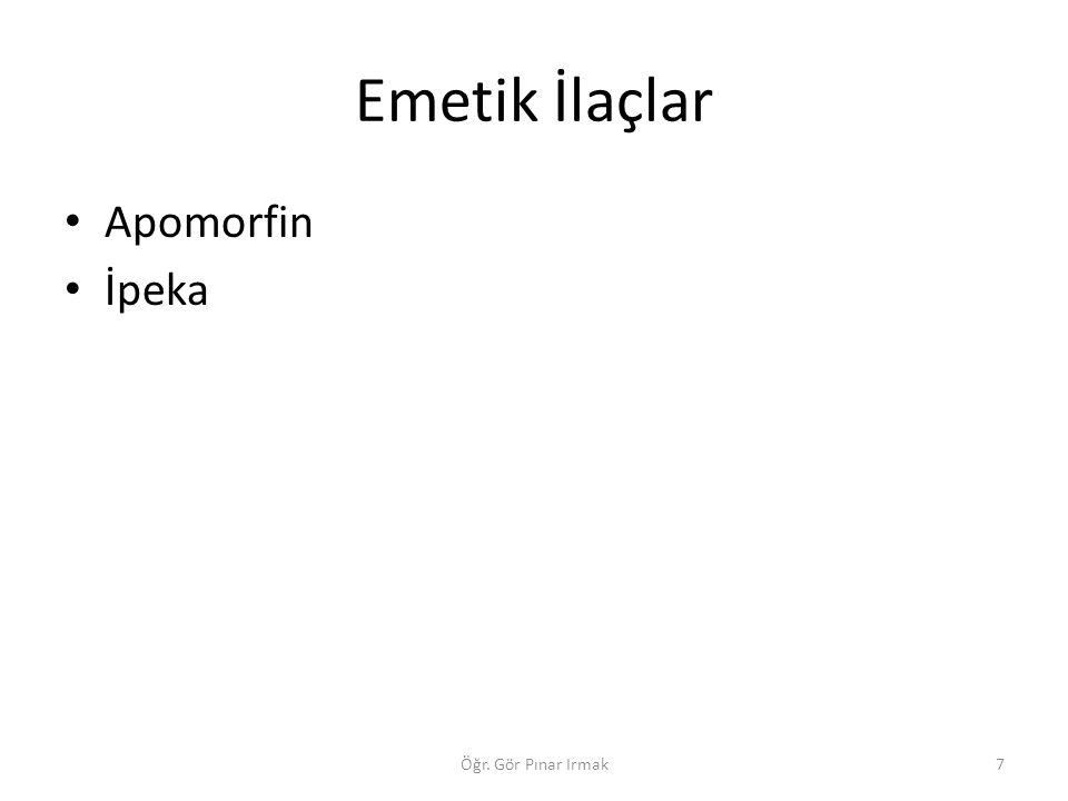 Emetik İlaçlar Apomorfin İpeka Öğr. Gör Pınar Irmak