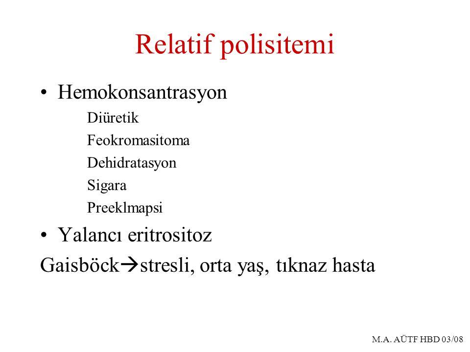 Relatif polisitemi Hemokonsantrasyon Yalancı eritrositoz