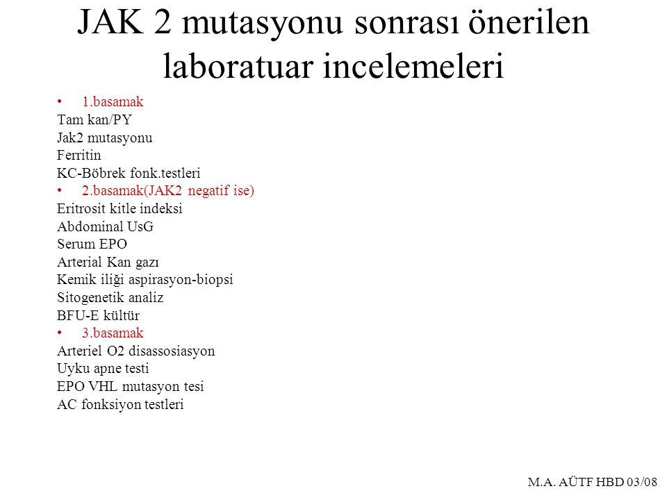 JAK 2 mutasyonu sonrası önerilen laboratuar incelemeleri