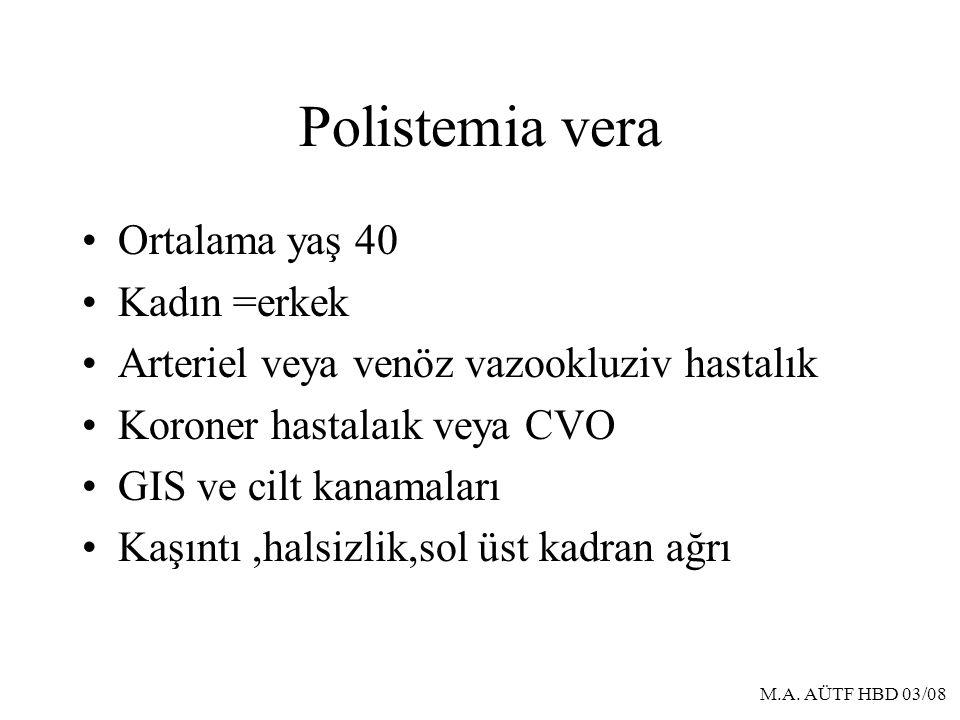 Polistemia vera Ortalama yaş 40 Kadın =erkek