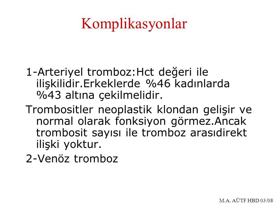 Komplikasyonlar 1-Arteriyel tromboz:Hct değeri ile ilişkilidir.Erkeklerde %46 kadınlarda %43 altına çekilmelidir.