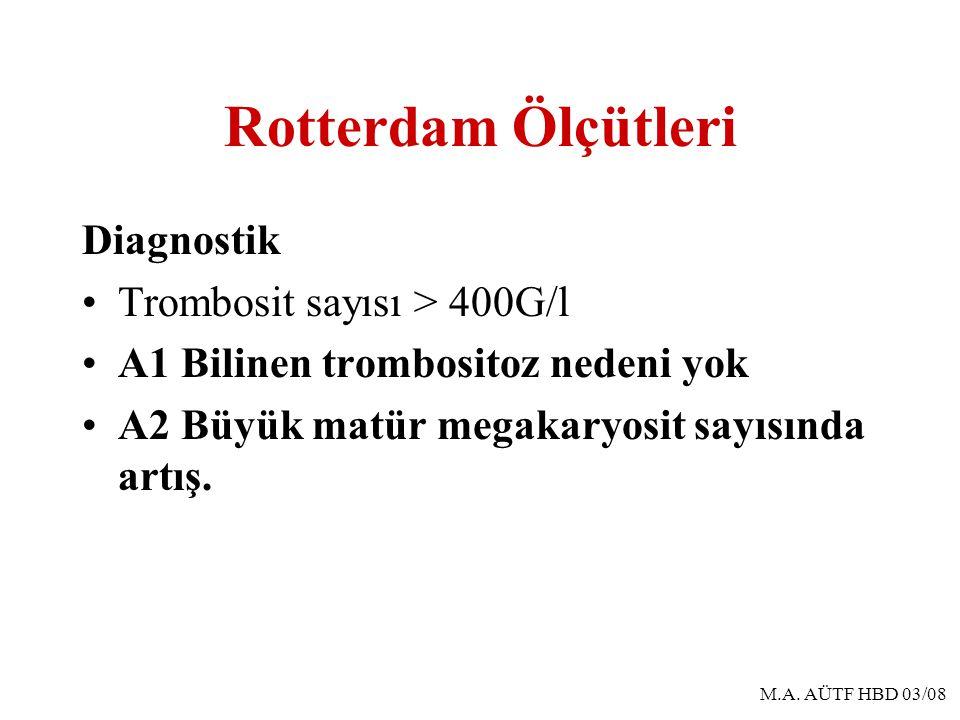 Rotterdam Ölçütleri Diagnostik Trombosit sayısı > 400G/l