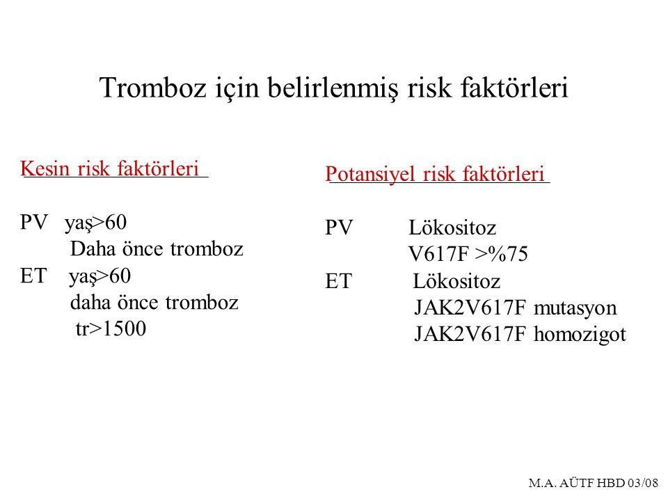 Tromboz için belirlenmiş risk faktörleri