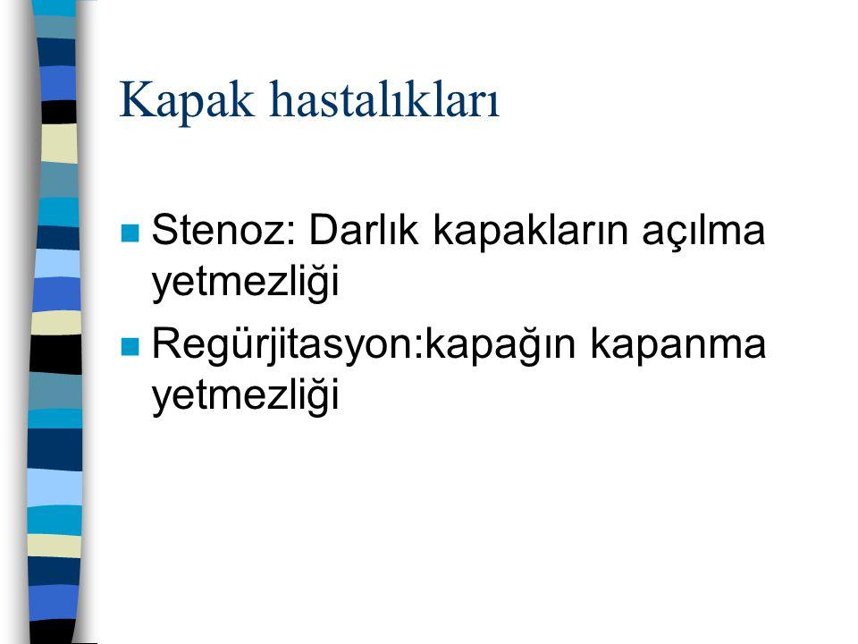 Kapak hastalıkları Stenoz: Darlık kapakların açılma yetmezliği