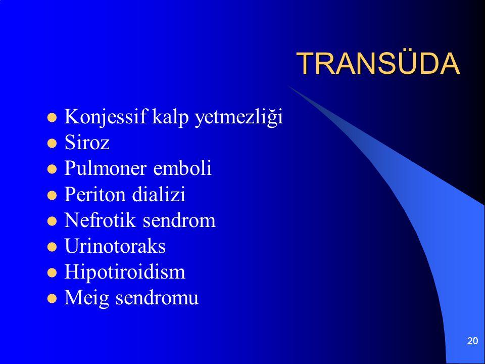 TRANSÜDA Konjessif kalp yetmezliği Siroz Pulmoner emboli
