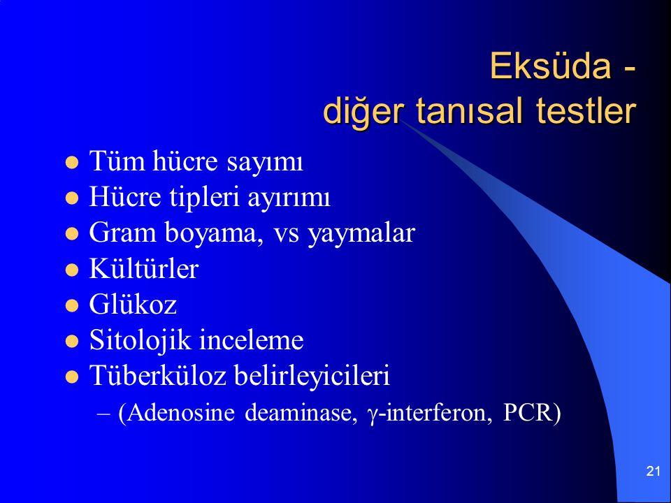 Eksüda - diğer tanısal testler