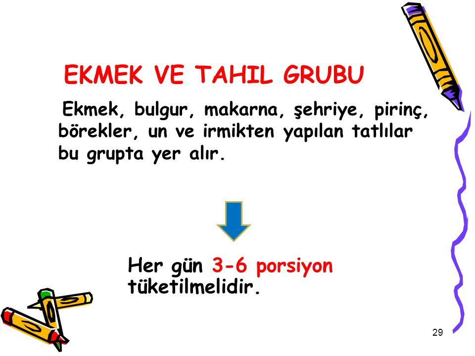 EKMEK VE TAHIL GRUBU Her gün 3-6 porsiyon tüketilmelidir.