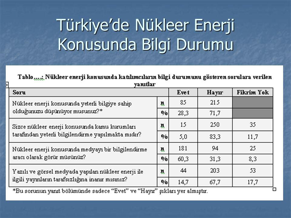Türkiye'de Nükleer Enerji Konusunda Bilgi Durumu