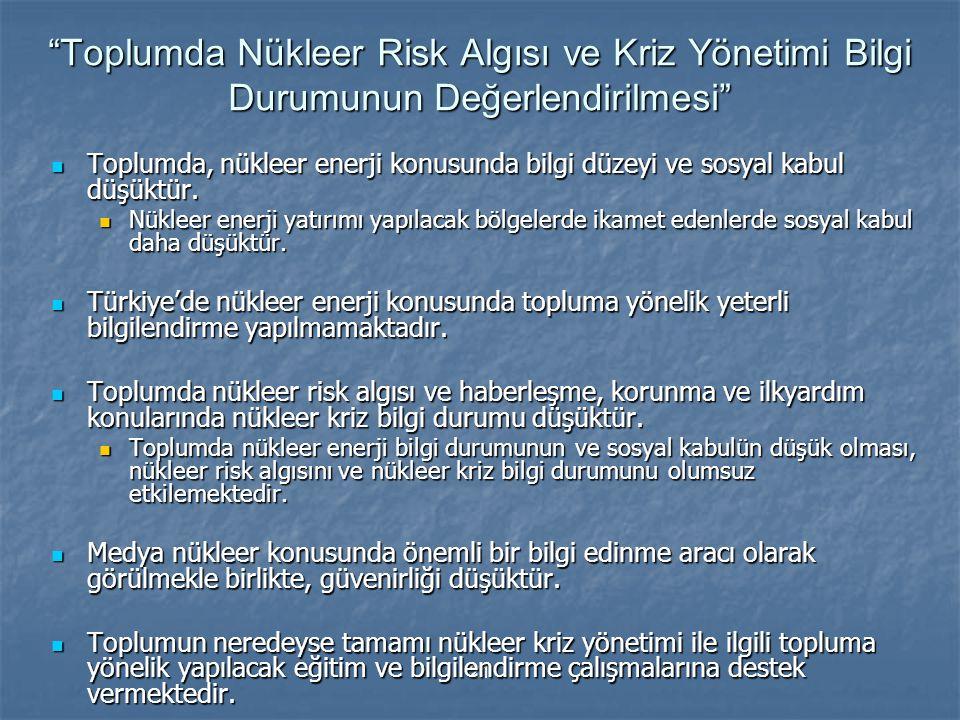 Toplumda Nükleer Risk Algısı ve Kriz Yönetimi Bilgi Durumunun Değerlendirilmesi