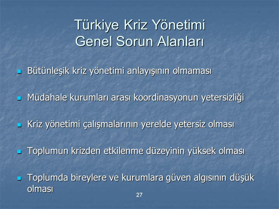 Türkiye Kriz Yönetimi Genel Sorun Alanları