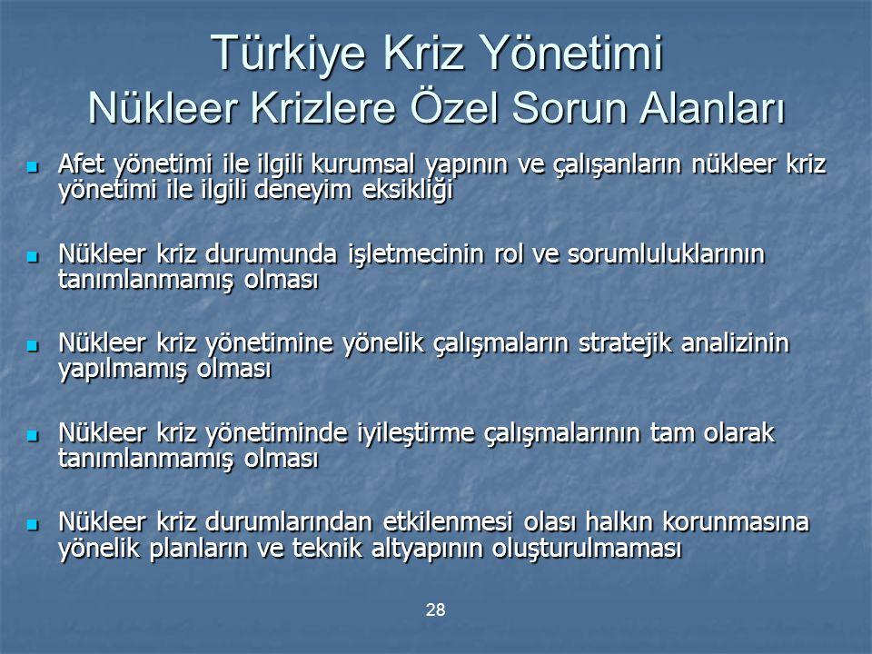 Türkiye Kriz Yönetimi Nükleer Krizlere Özel Sorun Alanları