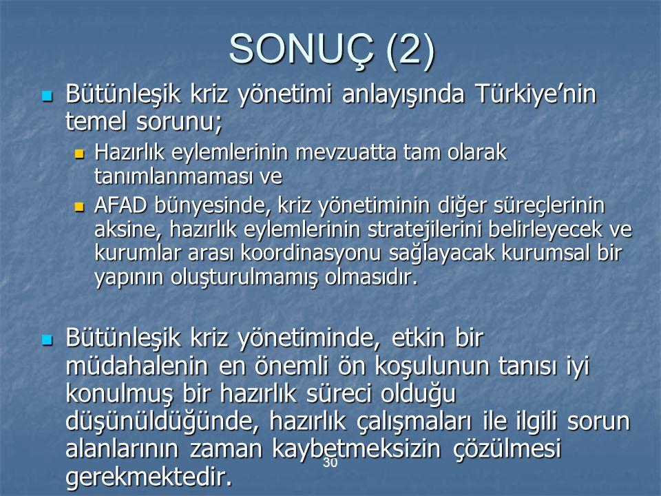 SONUÇ (2) Bütünleşik kriz yönetimi anlayışında Türkiye'nin temel sorunu; Hazırlık eylemlerinin mevzuatta tam olarak tanımlanmaması ve.