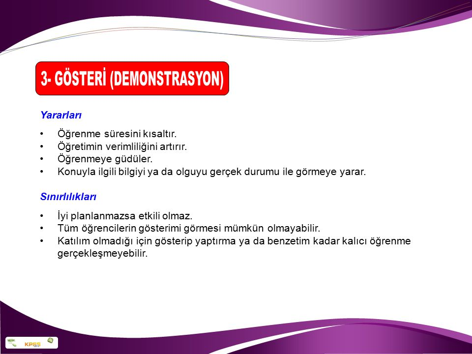 3- GÖSTERİ (DEMONSTRASYON)
