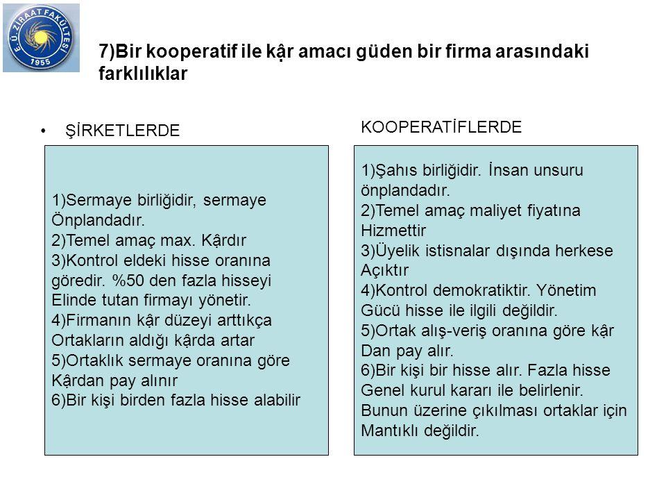 7)Bir kooperatif ile kậr amacı güden bir firma arasındaki farklılıklar