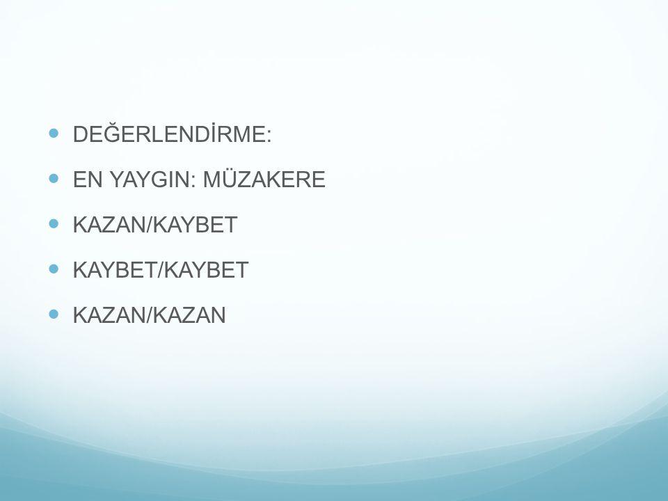 DEĞERLENDİRME: EN YAYGIN: MÜZAKERE KAZAN/KAYBET KAYBET/KAYBET KAZAN/KAZAN