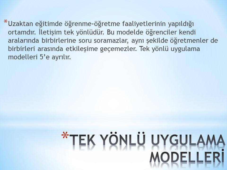 TEK YÖNLÜ UYGULAMA MODELLERİ