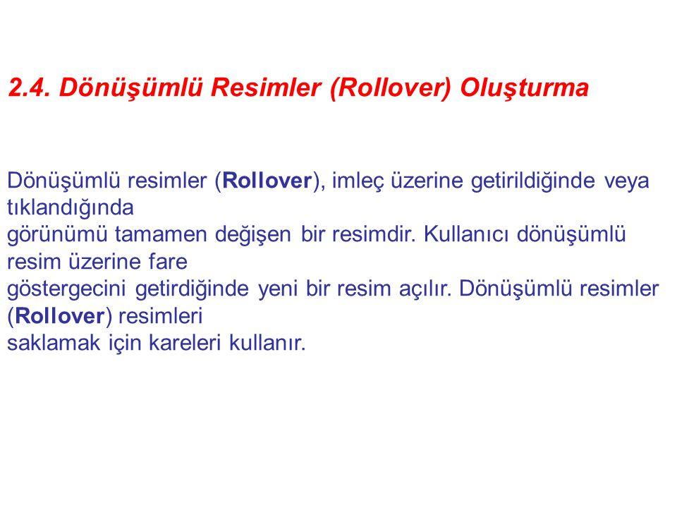 2.4. Dönüşümlü Resimler (Rollover) Oluşturma