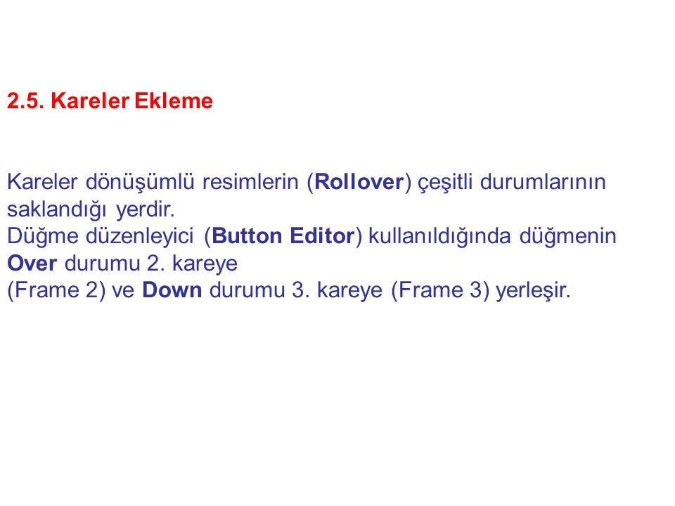 2.5. Kareler Ekleme Kareler dönüşümlü resimlerin (Rollover) çeşitli durumlarının saklandığı yerdir.