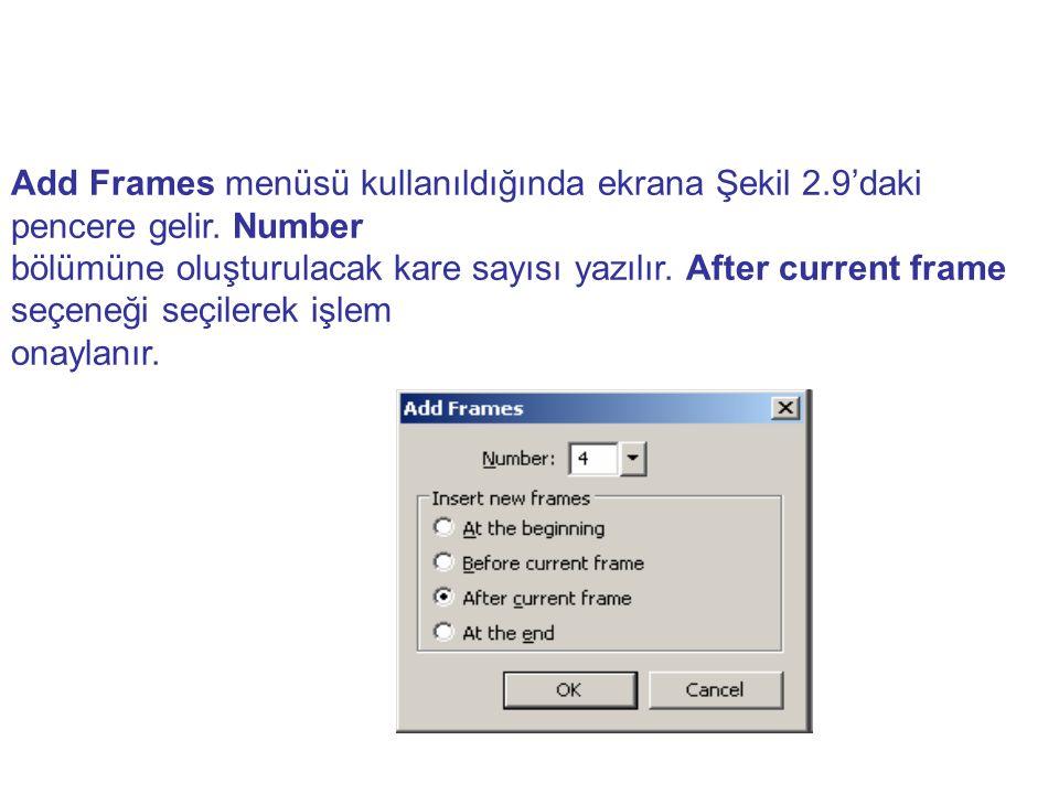 Add Frames menüsü kullanıldığında ekrana Şekil 2. 9'daki pencere gelir
