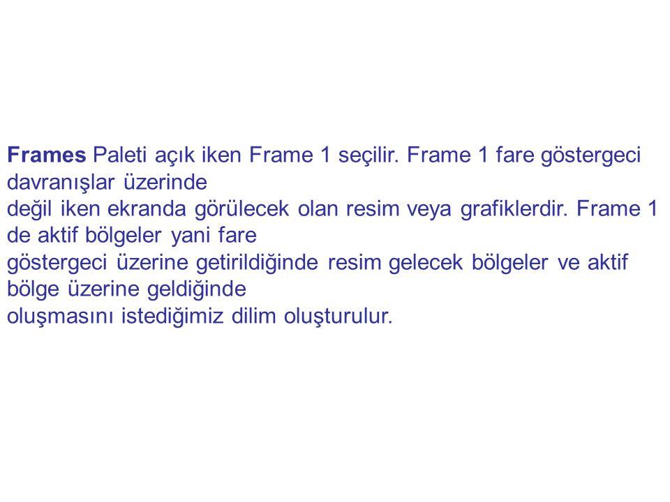 Frames Paleti açık iken Frame 1 seçilir