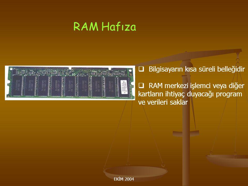 RAM Hafıza Bilgisayarın kısa süreli belleğidir