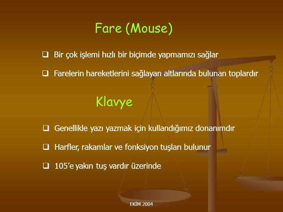 Fare (Mouse) Klavye Bir çok işlemi hızlı bir biçimde yapmamızı sağlar