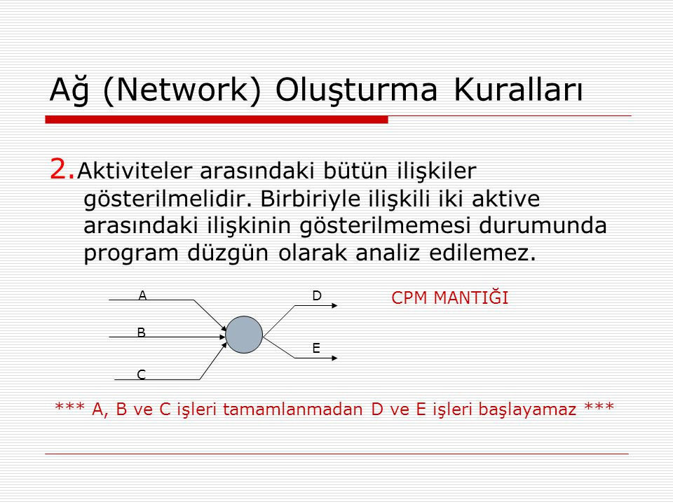 Ağ (Network) Oluşturma Kuralları