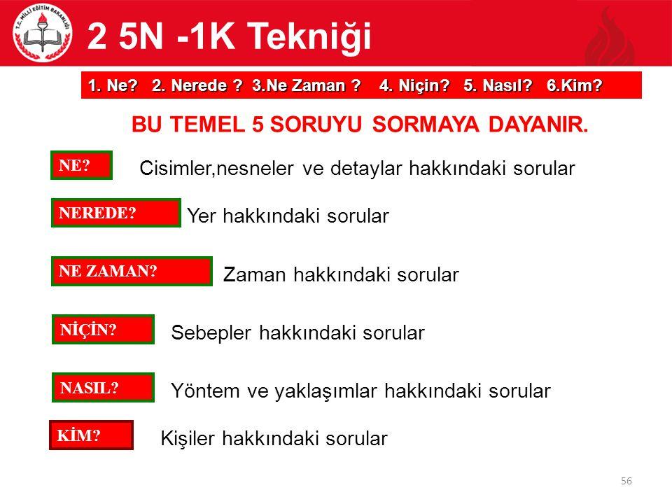 2 5N -1K Tekniği BU TEMEL 5 SORUYU SORMAYA DAYANIR.