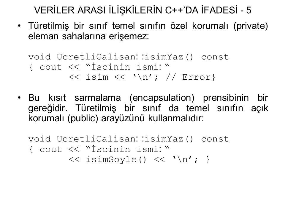 VERİLER ARASI İLİŞKİLERİN C++'DA İFADESİ - 5