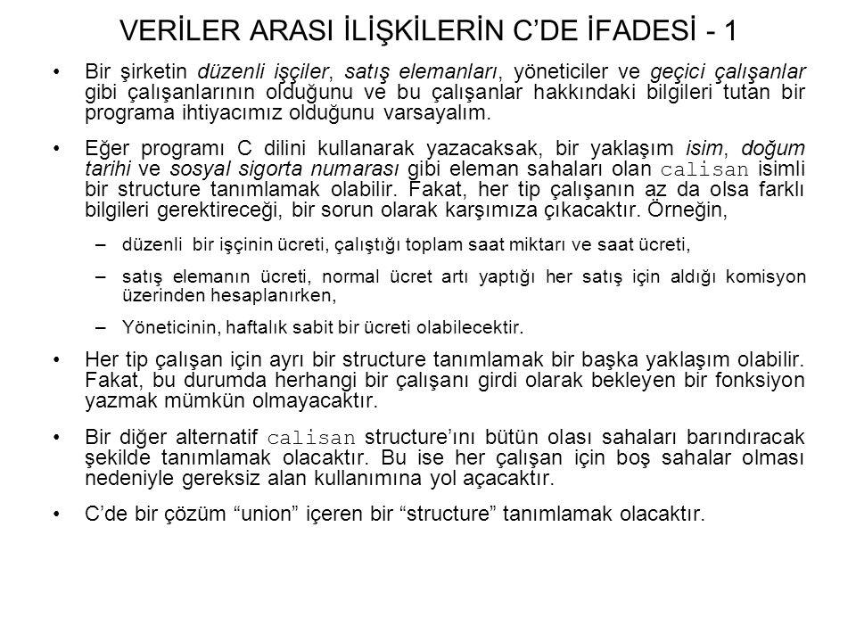 VERİLER ARASI İLİŞKİLERİN C'DE İFADESİ - 1