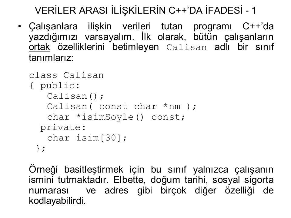 VERİLER ARASI İLİŞKİLERİN C++'DA İFADESİ - 1