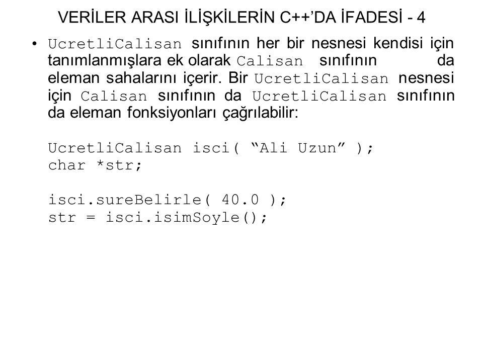 VERİLER ARASI İLİŞKİLERİN C++'DA İFADESİ - 4