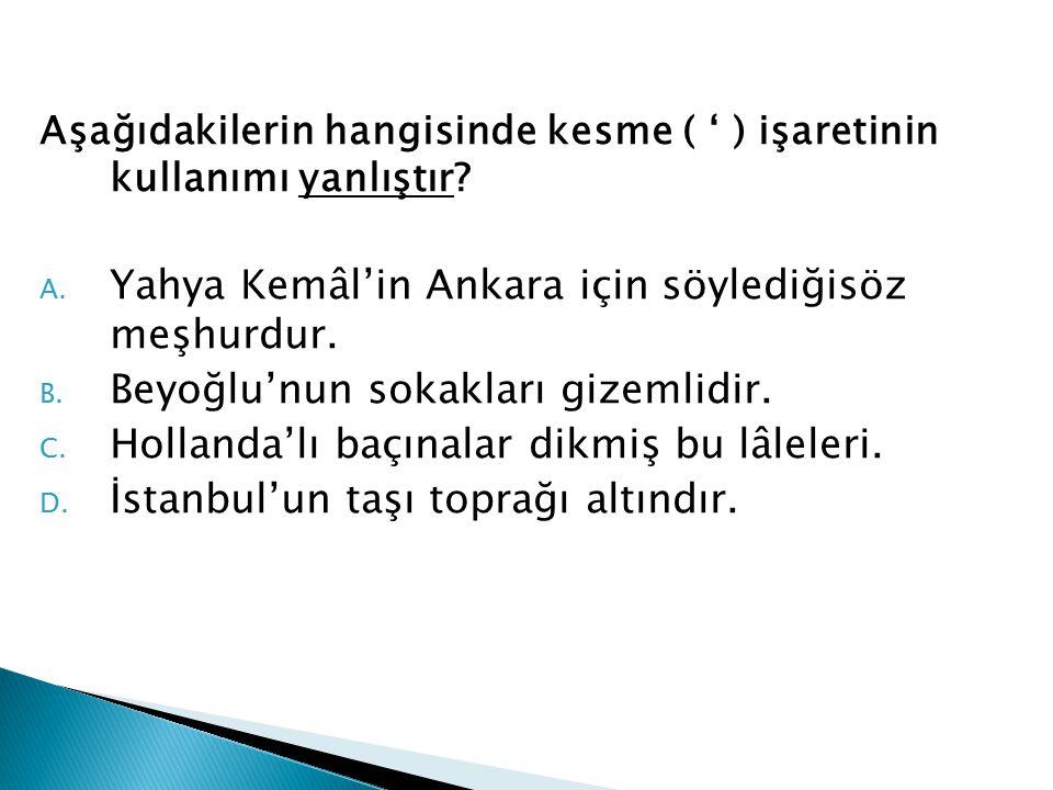 Yahya Kemâl'in Ankara için söylediğisöz meşhurdur.