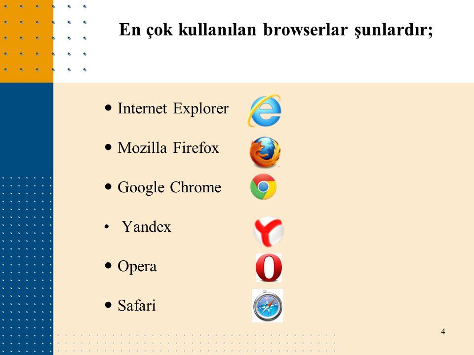 En çok kullanılan browserlar şunlardır;