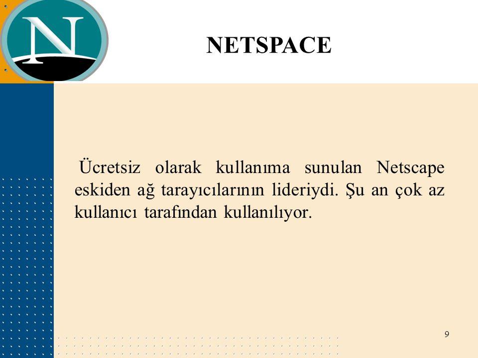 NETSPACE Ücretsiz olarak kullanıma sunulan Netscape eskiden ağ tarayıcılarının lideriydi.