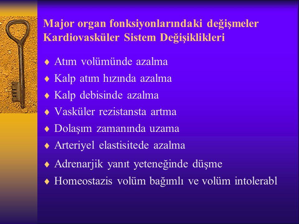 Major organ fonksiyonlarındaki değişmeler Kardiovasküler Sistem Değişiklikleri