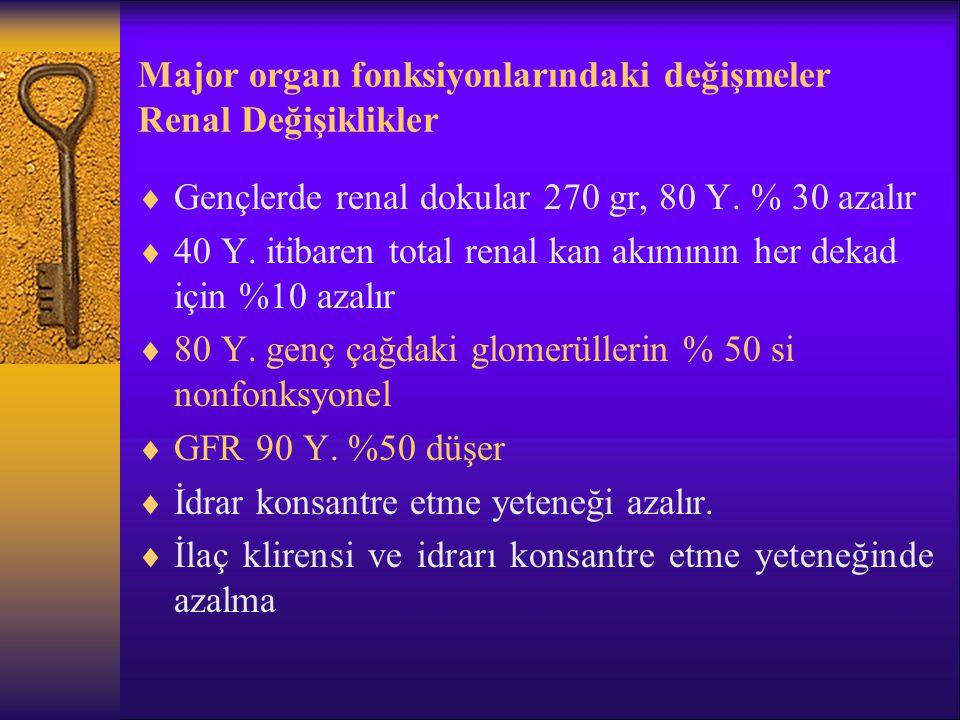 Major organ fonksiyonlarındaki değişmeler Renal Değişiklikler