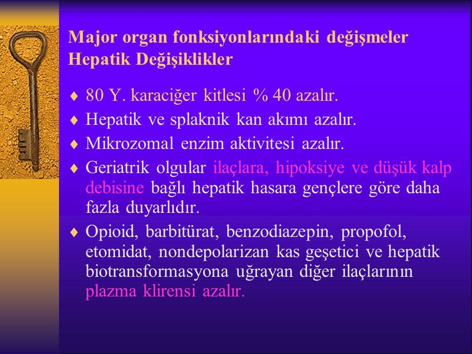 Major organ fonksiyonlarındaki değişmeler Hepatik Değişiklikler