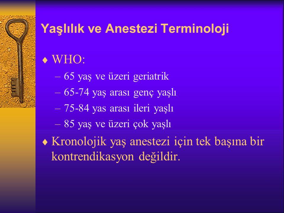 Yaşlılık ve Anestezi Terminoloji