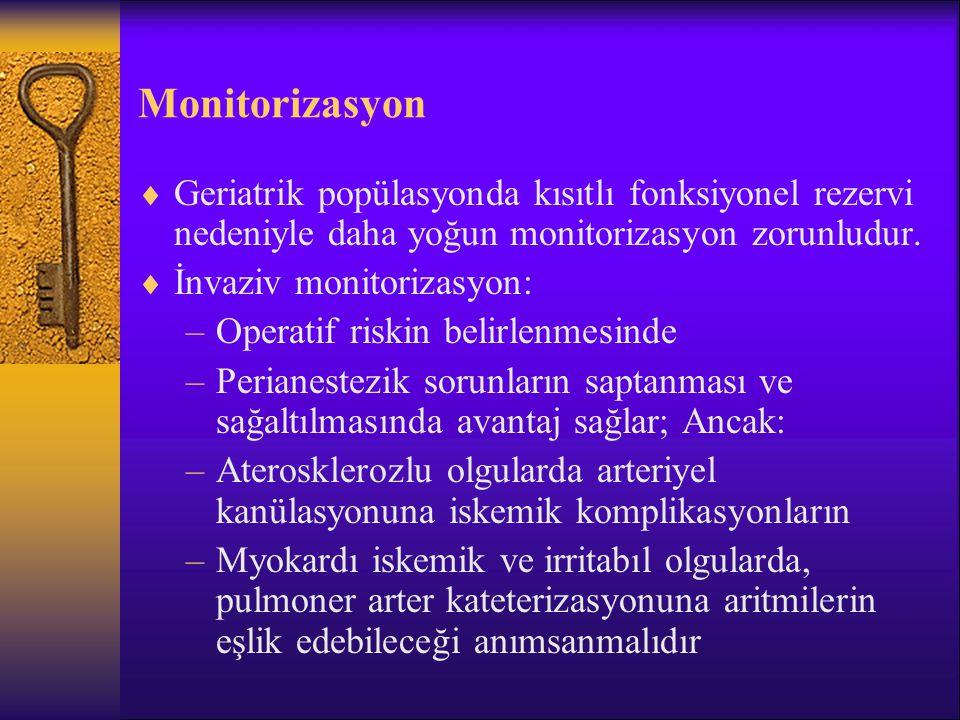 Monitorizasyon Geriatrik popülasyonda kısıtlı fonksiyonel rezervi nedeniyle daha yoğun monitorizasyon zorunludur.