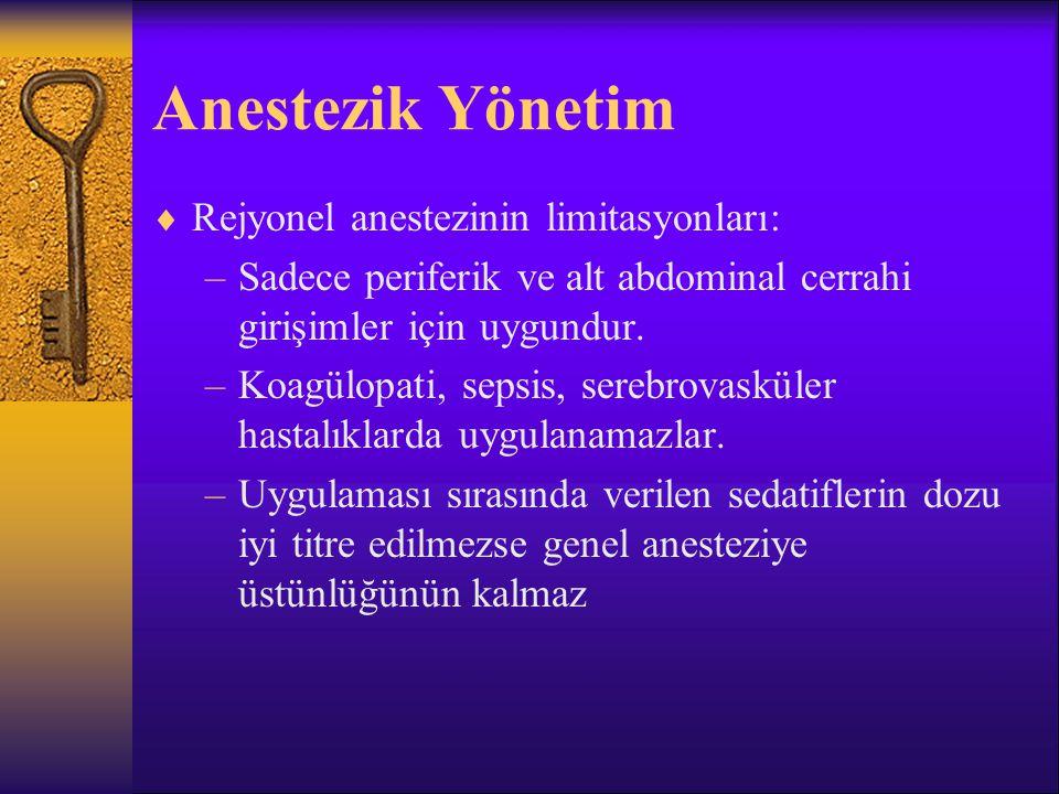Anestezik Yönetim Rejyonel anestezinin limitasyonları: