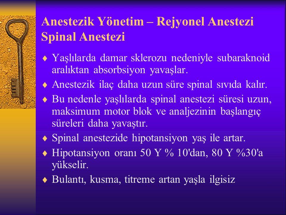 Anestezik Yönetim – Rejyonel Anestezi Spinal Anestezi