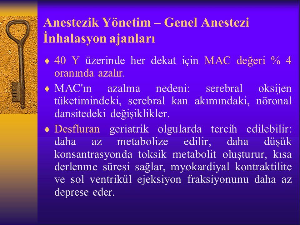 Anestezik Yönetim – Genel Anestezi İnhalasyon ajanları
