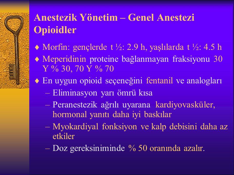 Anestezik Yönetim – Genel Anestezi Opioidler