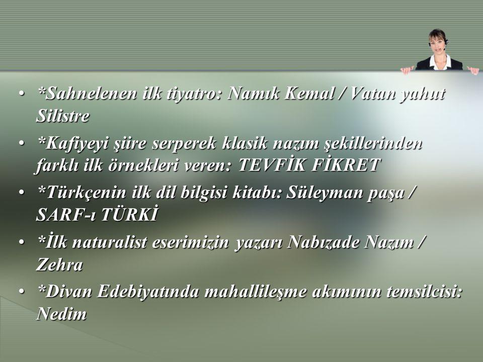 *Sahnelenen ilk tiyatro: Namık Kemal / Vatan yahut Silistre