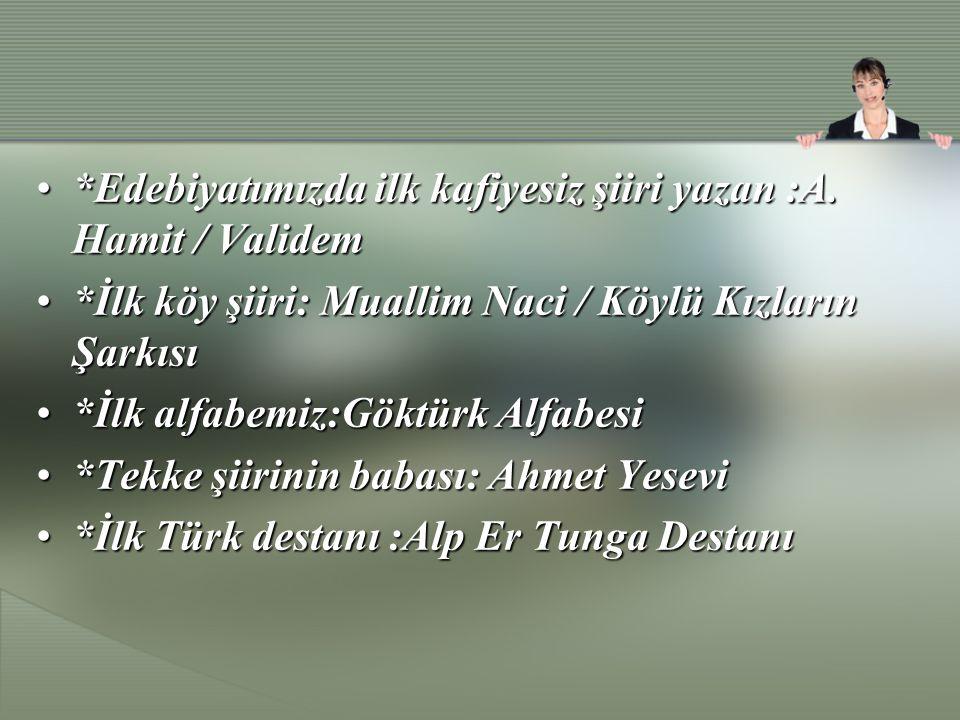 *Edebiyatımızda ilk kafiyesiz şiiri yazan :A. Hamit / Validem