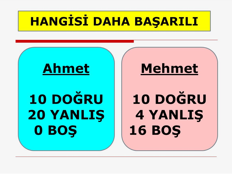 Ahmet 10 DOĞRU 20 YANLIŞ Mehmet 10 DOĞRU 4 YANLIŞ