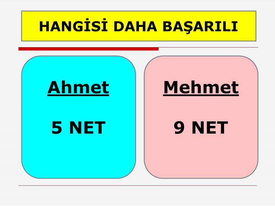 HANGİSİ DAHA BAŞARILI Ahmet 5 NET Mehmet 9 NET