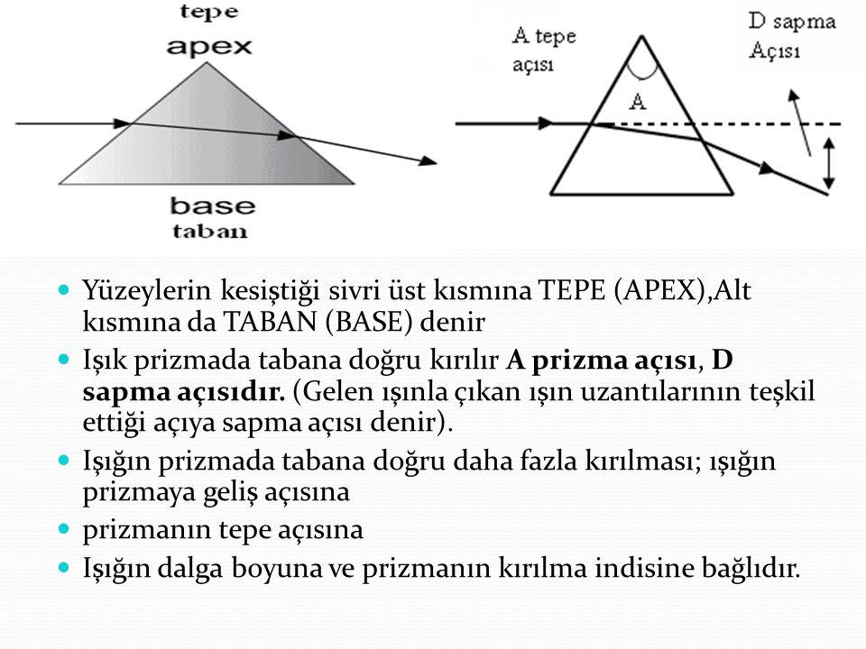 Yüzeylerin kesiştiği sivri üst kısmına TEPE (APEX),Alt kısmına da TABAN (BASE) denir.