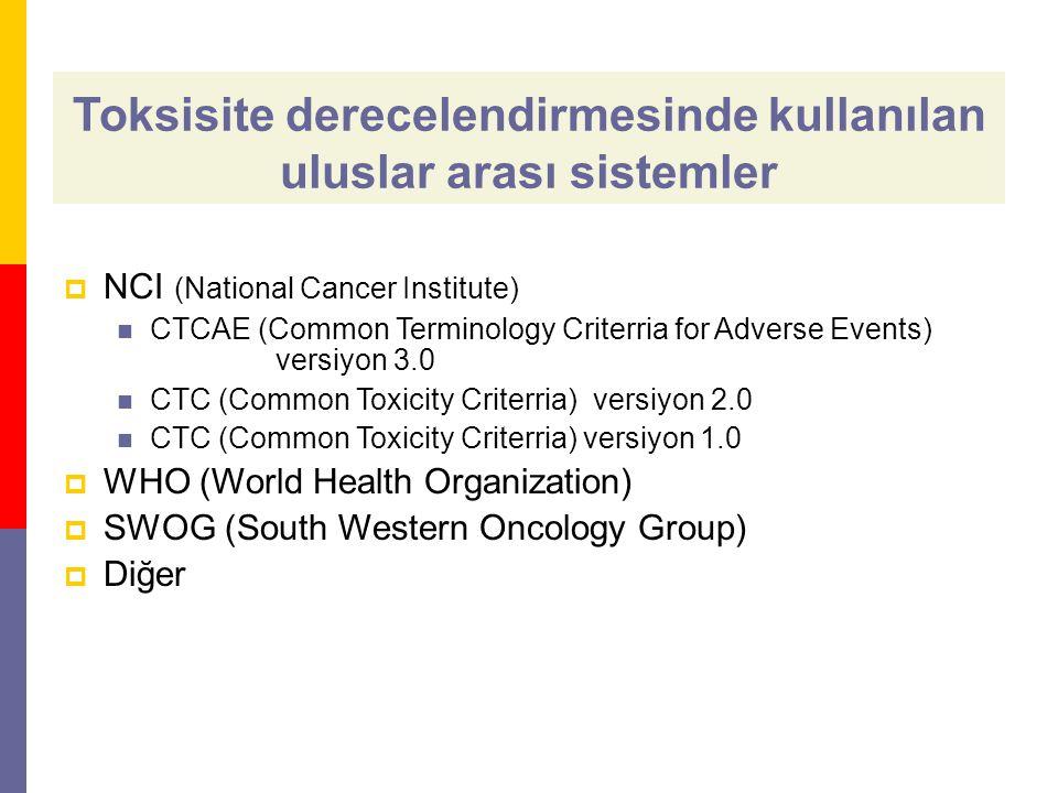 Toksisite derecelendirmesinde kullanılan uluslar arası sistemler